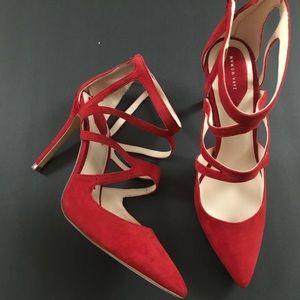 NWOT Zara Red Suede Strappy Heels EU 41